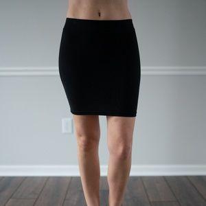 Black stretchy cotton mini skirt
